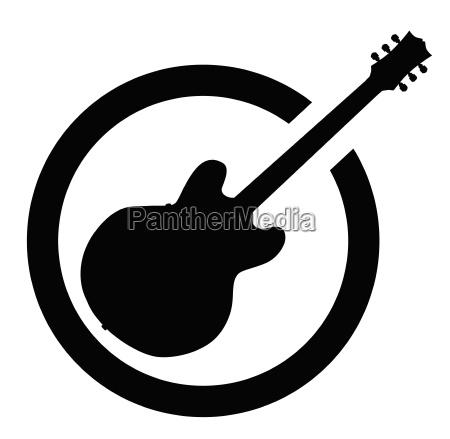 schwarze tinte stempel semi gitarre
