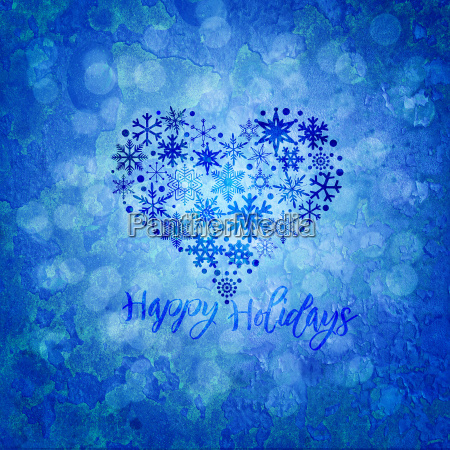 christmas happy holidays snowflakes heart shape