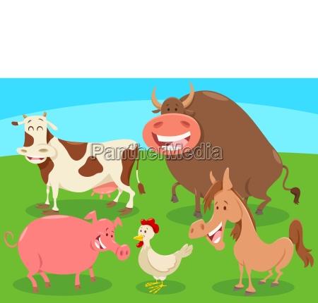 cartoon farm animal characters group
