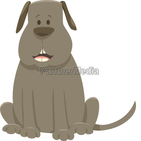 gray dog cartoon animal character
