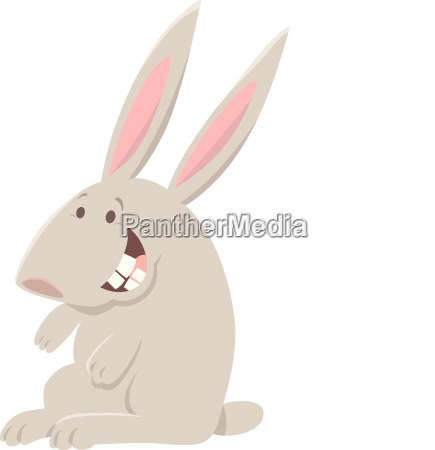 happy gray rabbit animal character