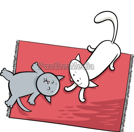 cute playing cats cartoon illustration