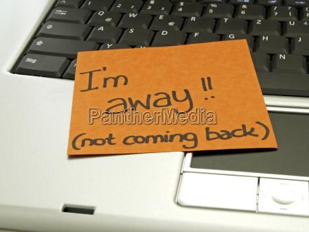 notiz auf dem notebook ich bin