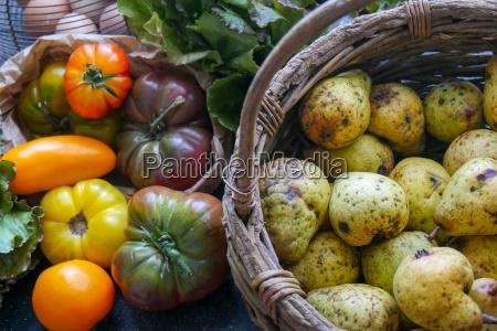 verschiedene rustikale tomaten und birnen aus