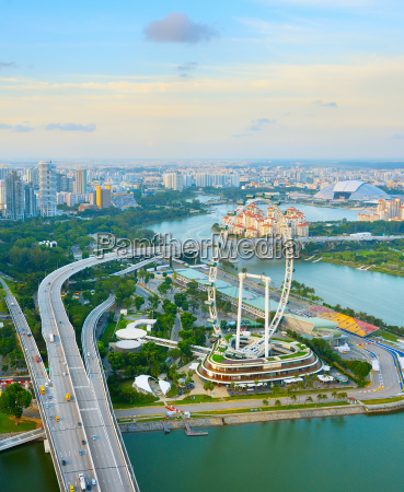 singapore skyline ferries wheel aerial