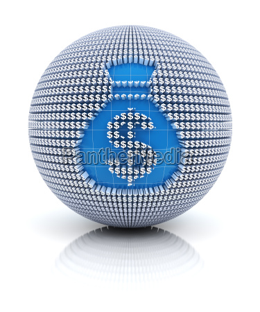 money bag icon on globe formed