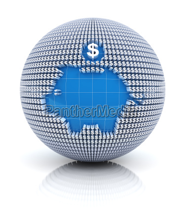 savings icon on globe formed by
