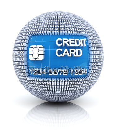 credit card icon on globe formed