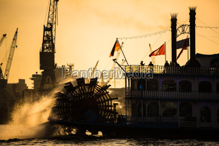 steam paddle boat in hamburk germany