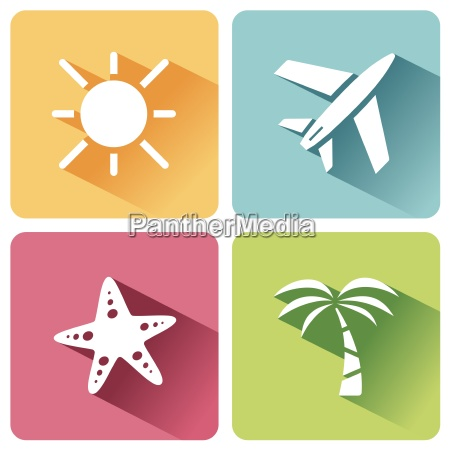 four summer and tourism icons set