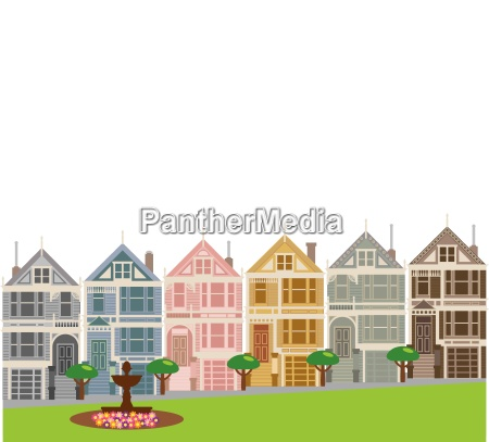painted ladies row houses in san