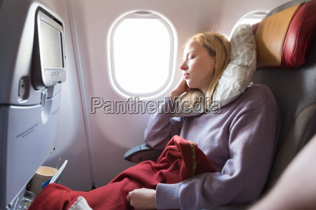 tired blonde casual caucasian lady sleepin