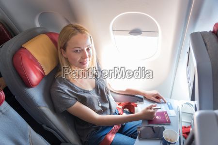 casual woman flying on commercial passengers