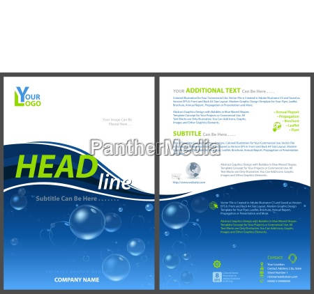 flyer template with water bubbles