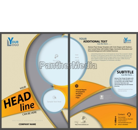flyer template with circles and curved
