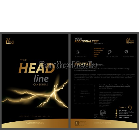 black flyer template with golden strip