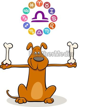 waage sternzeichen mit karikaturhund
