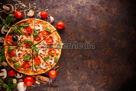 composition with tasty pizza