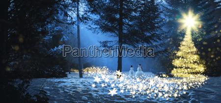 magische weihnachtsszene im wald mit zwei