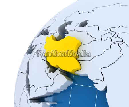 globus mit extrudierten kontinenten nahaufnahme des