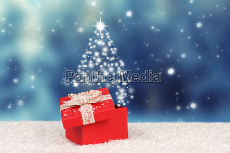weihnachtsmagisches geschenk mit blitzsternen ueberraschung