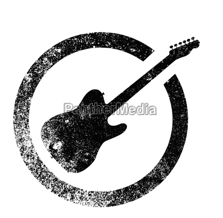 electric guitar ink stamp