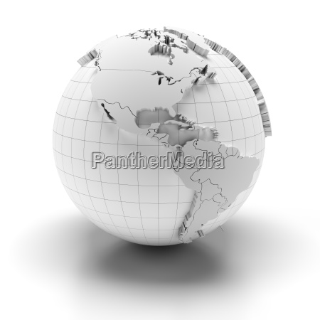 globe with extruded continents north and