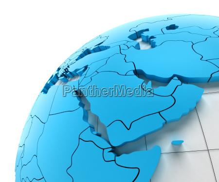 globus im nahen osten mit nationalen