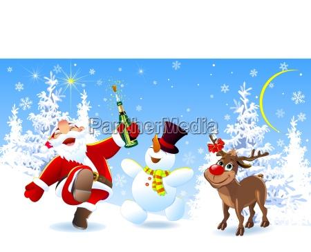 merry santa deer und schneemann
