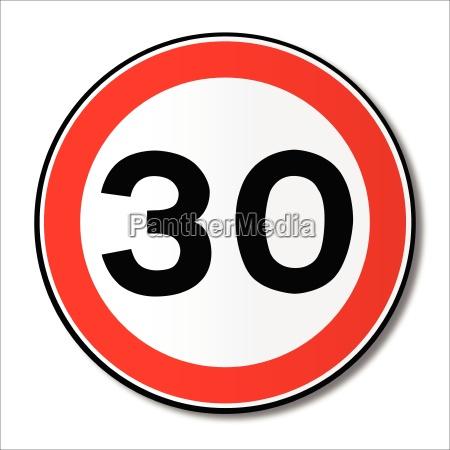 30 mph limit verkehrszeichen