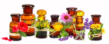 old pharmacist glass bottles with medical