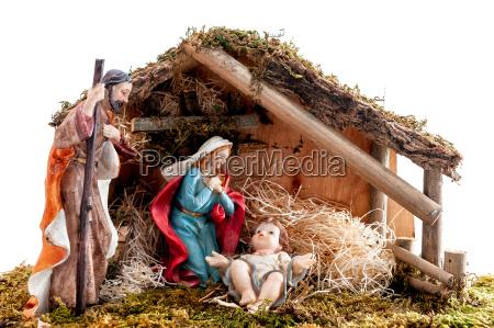 weihnachtskrippe mit heiliger familie in der