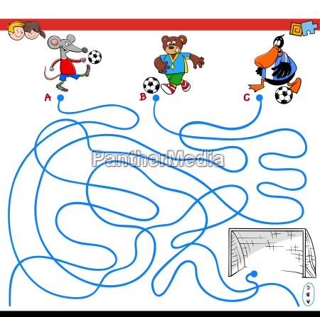 paths maze game with animals playing