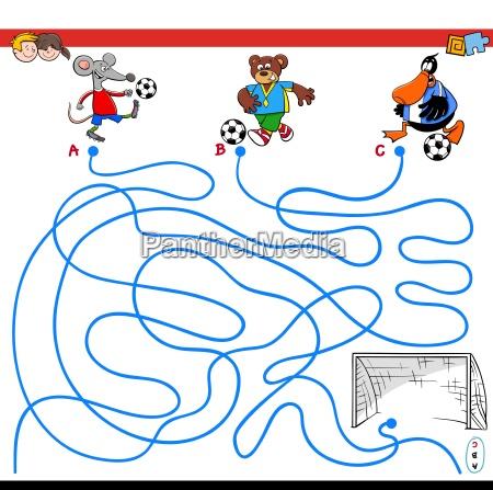 wege labyrinth spiel mit tieren fussball