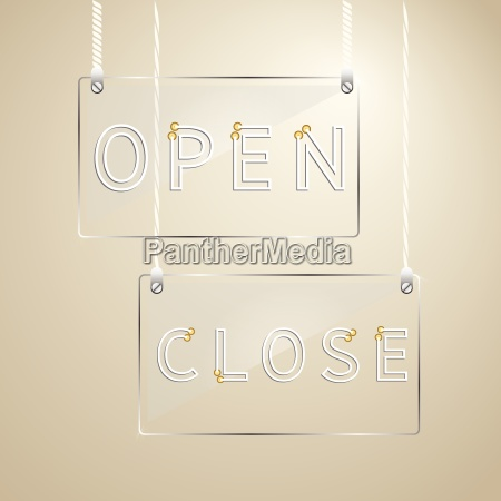 open and close sign on glass