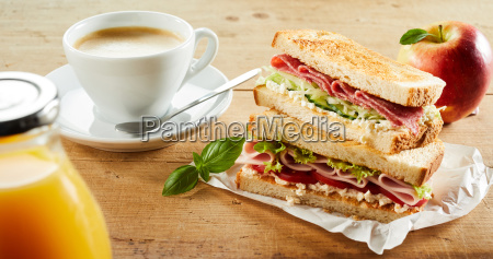cup of coffee and sandwich with