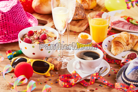 carnival breakfast with colorful party accessories