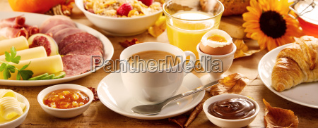 healthy autumn breakfast in a panorama