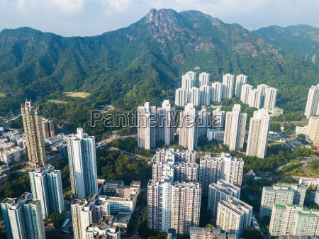 hong kong cityscape and mountain