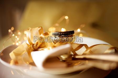 festive golden table setting