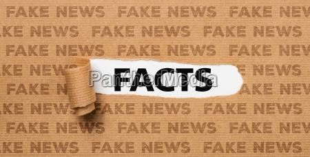 zerrissen papier fakten oder fake news