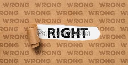 zerrissen papier richtig oder falsch