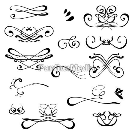 vintage kalligraphische design elemente set von