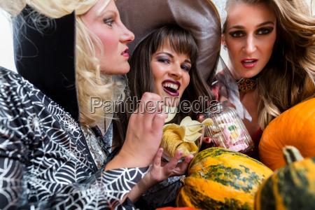 four beautiful women having fun while