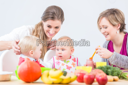 portrait of a cheerful mother learning