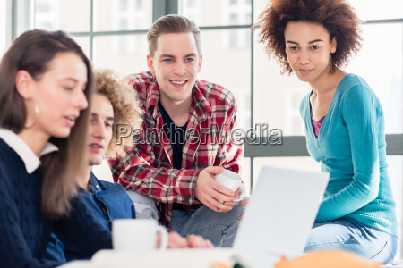 students watching together a funny online