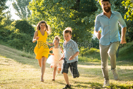 active young parents with a healthy