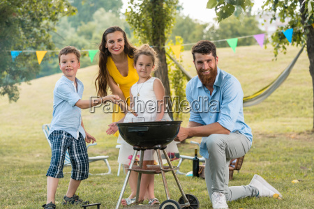 portrait of happy family with children