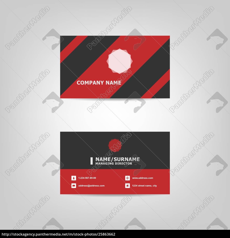 Lizenzfreie Vektorgrafik 25863662 Rote Und Schwarze Visitenkarten Design Vorlage