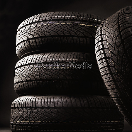 close up of four tires against